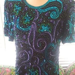 Laurence Kazar stunning sequin top